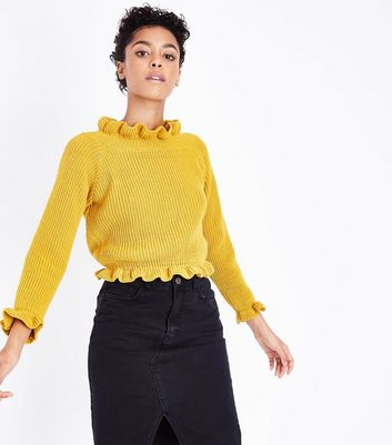 Cameo Rose Yellow Frill Neck Edge Jumper