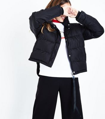 QED Black Dip Hem Cropped Puffer Jacket