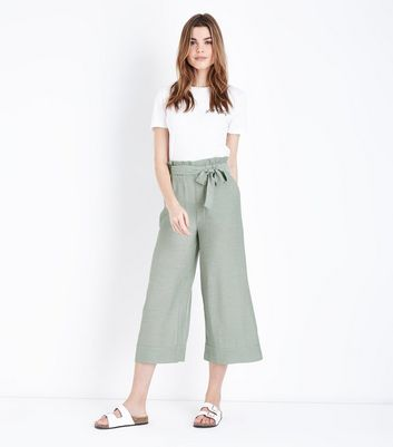 Mint Green Crepe Tie Waist Cropped Trousers