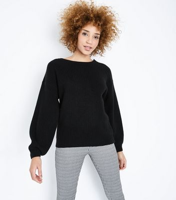Black Lattice Back Balloon Sleeve Jumper