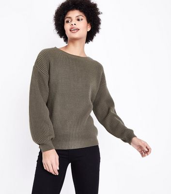 Khaki Lattice Back Balloon Sleeve Jumper