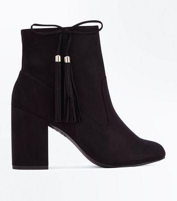 Black Suedette Bow Tassel Side Heeled Boots