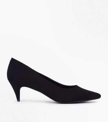 Black Suedette Pointed Kitten Heel Court Shoes