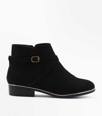 Wide Fit Black Suedette Metal Trim Ankle Boots