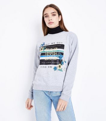 Grey Floral Stripe Slogan Sweatshirt
