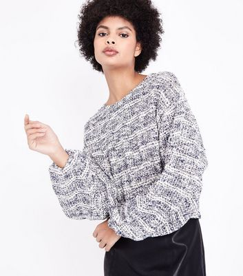 Blue Marl Boucle Stripe Batwing Sleeve Jumper