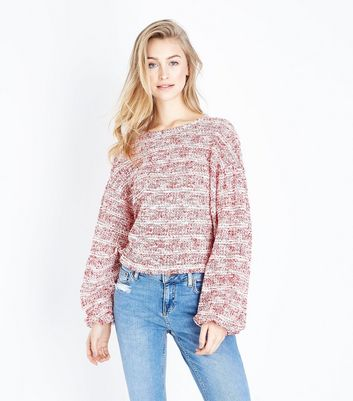 Red Marl Boucle Stripe Batwing Sleeve Jumper