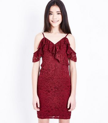 Teens Burgundy Lace Cold Shoulder Bodycon Dress
