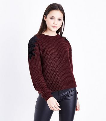 Teens Burgundy Floral Lace Shoulder Jumper by New Look