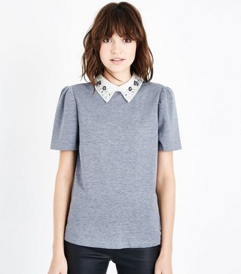 Tall Grey Embellished Collar Fine Knit Top