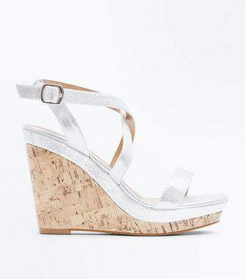 Silver Metallic Strappy Cork Wedges