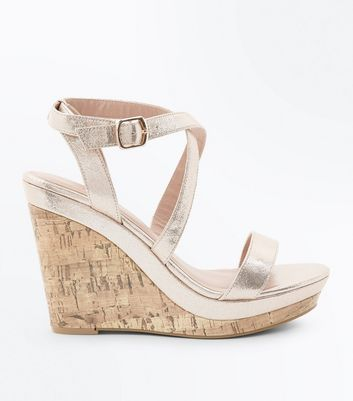 Gold Metallic Strappy Cork Wedges