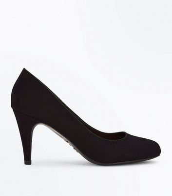 Black Suedette Round Toe Court Shoes