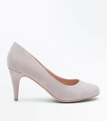 Grey Suedette Round Toe Court Shoes
