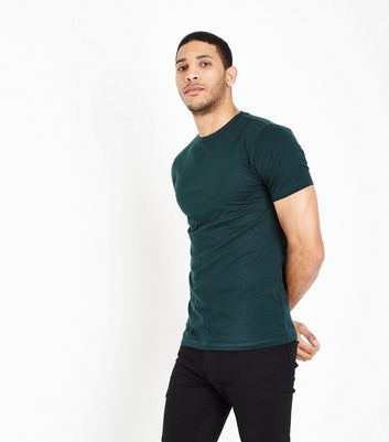 Dark Green Short Sleeve Muscle Fit T-Shirt