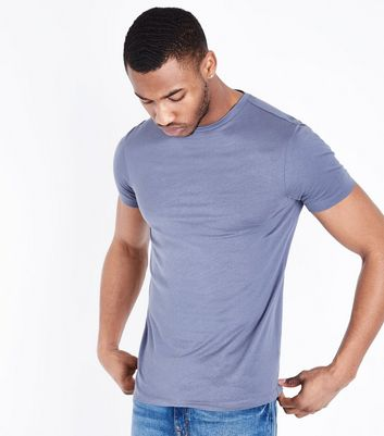 Pale Blue Short Sleeve Muscle Fit T-Shirt