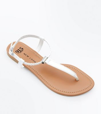 Girls White Plait Strap Flat Sandals