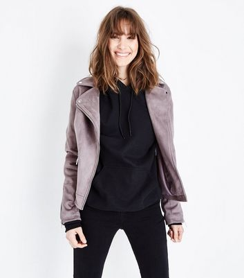 Tall Pale Grey Suedette Biker Jacket
