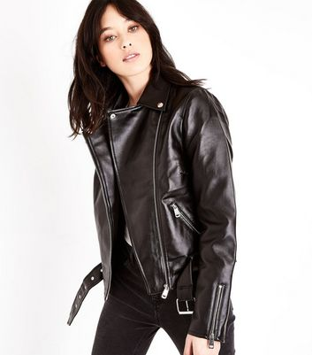 Tall Black Leather-Look Belted Biker Jacket