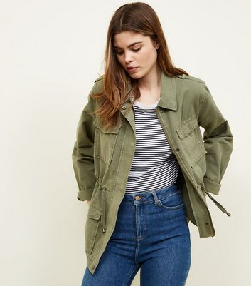 Tall Khaki Cotton Shacket