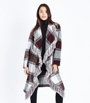 Black Check Fringed Waterfall Coat