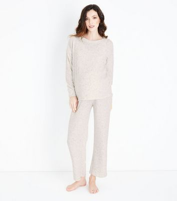 Maternity Pale Grey Brushed Ribbed Joggers