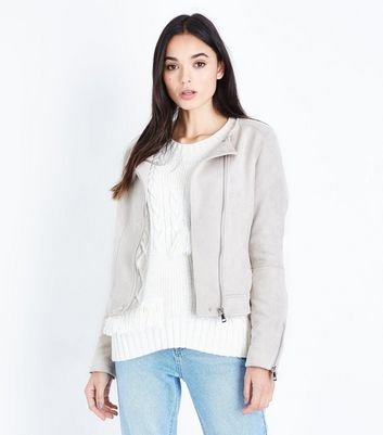 Tall Stone Suedette Collarless Biker Jacket