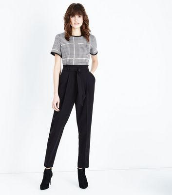 Tall Black Paperbag Waist Trousers