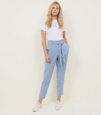 Tall Pale Blue Paperbag Waist Trousers