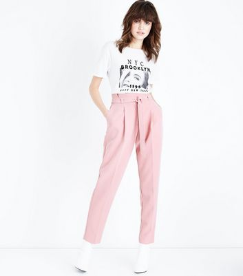 Tall Mid Pink Paperbag Waist Trousers