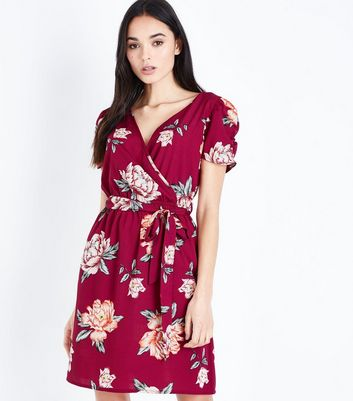 Tall Red Floral Wrap Front Mini Dress