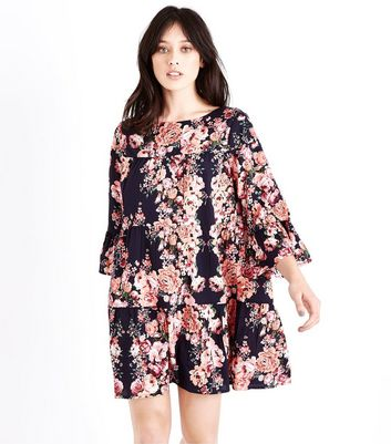 Blue Floral Print Bell Sleeve Smock Dress