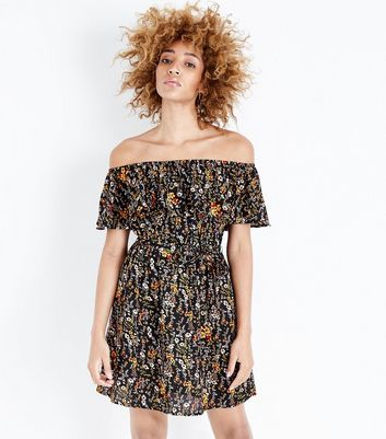 Black Floral Print Bardot Neck Frill Trim Dress