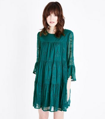Green Embroidered Chiffon Tiered Smock Dress