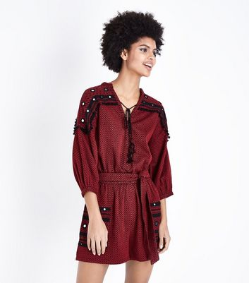 Red Jacquard Embroidered Mirror Playsuit