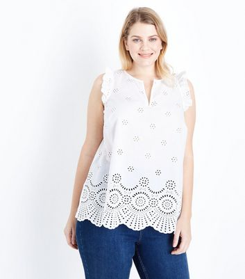 Curves White Broderie Frill Trim Top