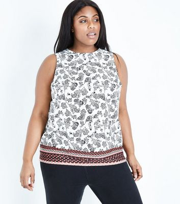Curves White Paisley Border Print Top