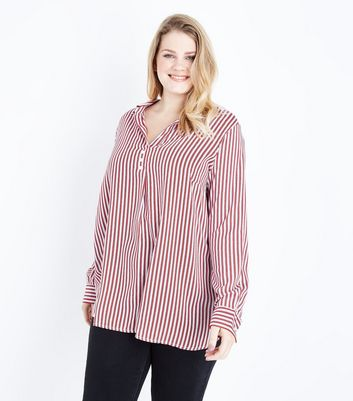 Curves Red Stripe Button Neck Overhead Shirt