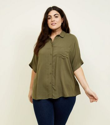 Curves Khaki Short Sleeve Boxy Shirt