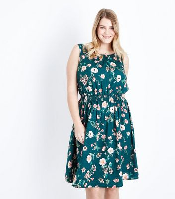 Curves Green Floral Print Sleeveless Dress
