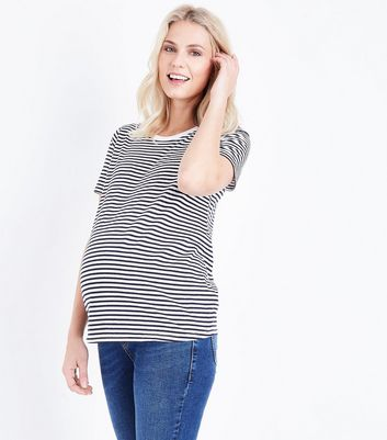 Maternity Blue Stripe Crew Neck T-Shirt