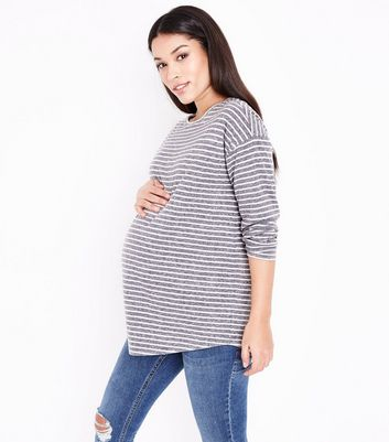 Maternity Light Grey Stripe Long Sleeve T-Shirt