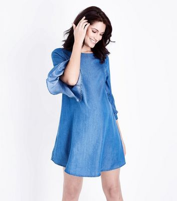 Maternity Blue Lightweight Denim Tunic Dress