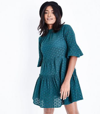 Petite Dark Green Floral Cut Out Tiered Smock Dress
