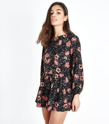 Petite Black Floral Long Sleeve Playsuit