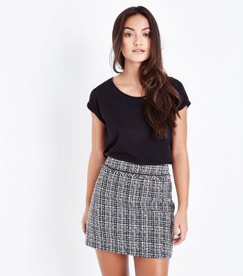 Petite Light Grey Boucle Fray Edge Skirt