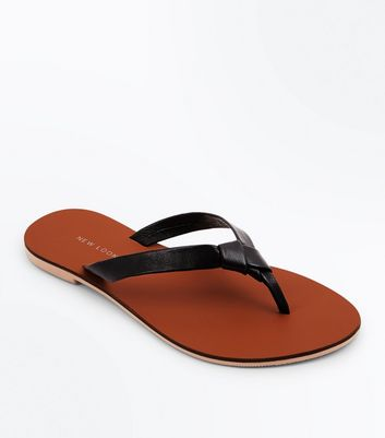 Wide Fit Black Leather Flip Flops