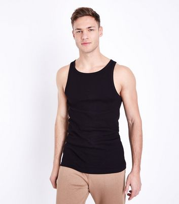 Black Muscle Fit Ribbed Vest