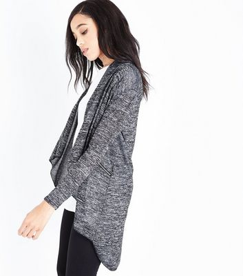 Mela Grey Marl Zip Pocket Waterfall Cardigan
