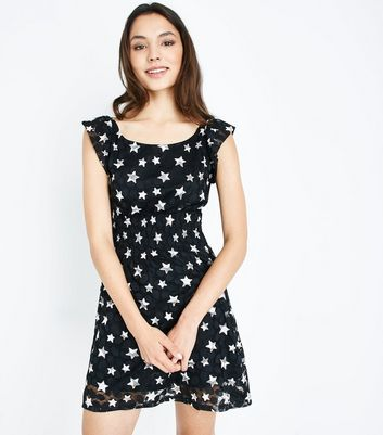Mela Black Lace Star Print Dress